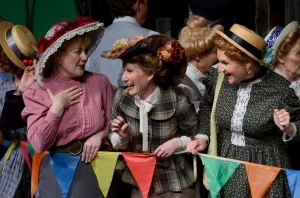 Mrs. Pye (Jackie Harms), Mrs. Barry (Bev Plett) and Mrs. McPherson (Corinne Thiessen).  Act I finale