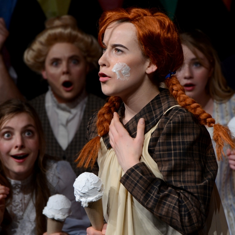 """Ice Cream is wonderful and mysterious"". (Kira Fondse as Anne, with Kendra Friesen, Madeleine Hiebert, Yvonne Hiebert, Mersadie Thiessen, Loren Koeler in background)"