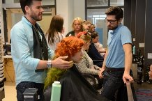 Kyle (hair and make-up), Kira (Anne) and myself, working out some final wig details.